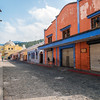 Cobblestone street and buildings in Antigua, Guatemala