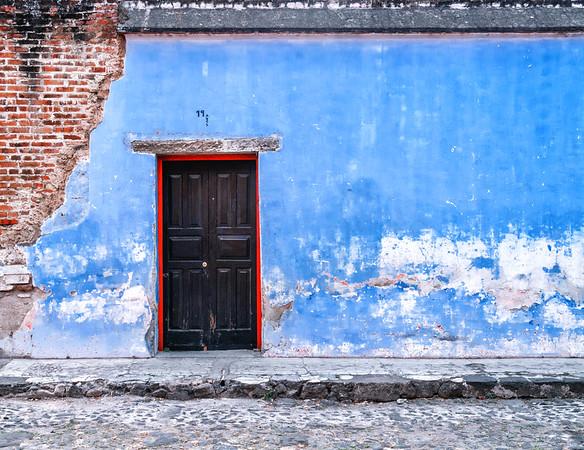Door and facade of old building in Antigua, Guatemala