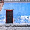 Door and facade of old building in Antigua, Guatemala