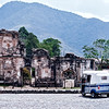 Tuk-tuk and ruins in Antigua Guatemala.
