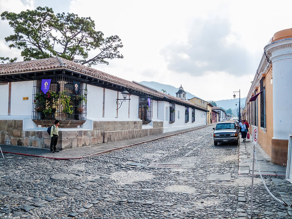 Cobblestone road and houses in Antigua, Guatemala