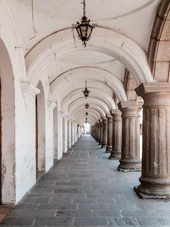 """Outdoor hallway at """"Palacio de los Capitanes Generales"""" in Antigua Guatemala"""
