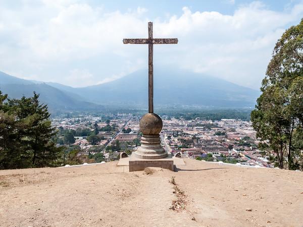 View on Antigua and Agua Volcano from the Hill of the Cross (Cerro de la Cruz), Guatemala