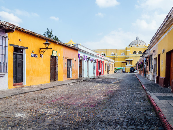Cobblestone street and buildings in Antigua, Guatemala