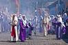 Semana Santa procession through the streets of Antigua, Guatemala during Holy week.