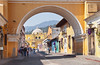 The arch of Santa Catalina on 5th Ave in Antigua, Guatemala.