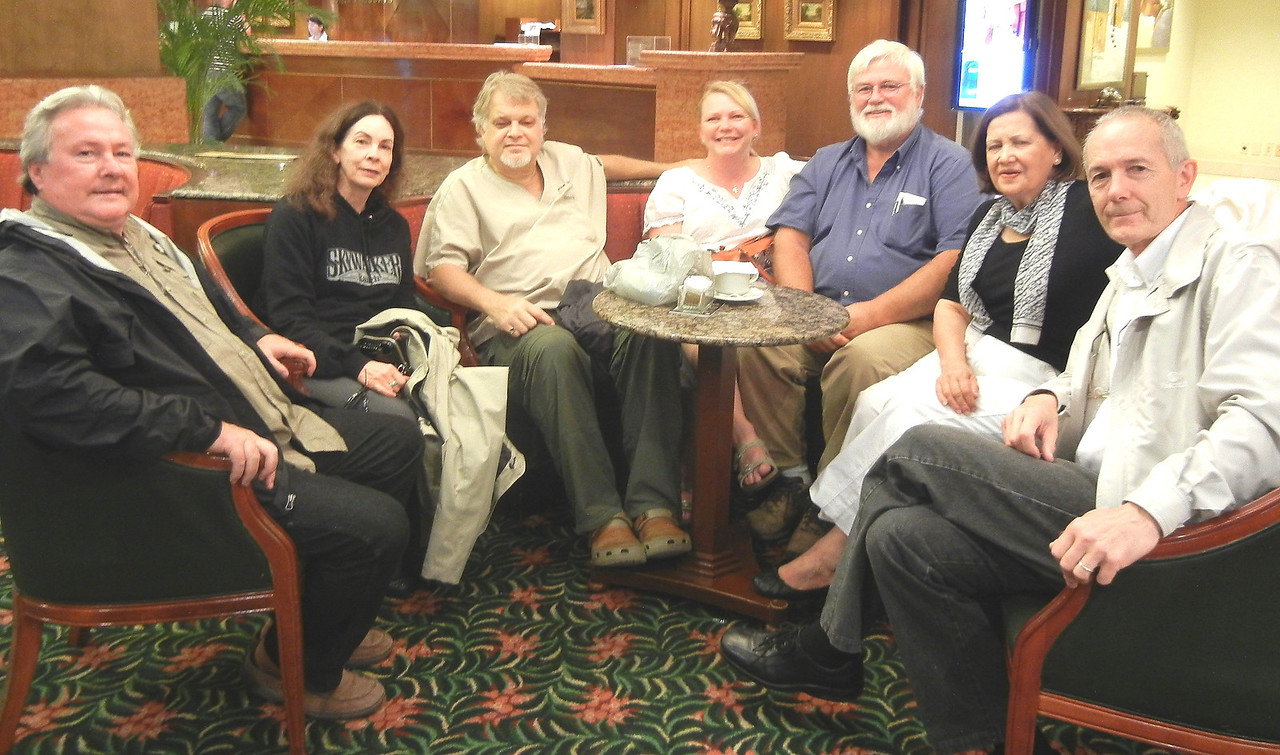 Mike and Betty Wells, Woody Woodson, Cindy and Dennis McCutcheon, Hilda y Raimundo Ericson strategising for the week over coffee at the coffee shop in the Barcelo.  I was concerned we did not have enough for them to do, but God filled their schedule and pushed up the schedule for their return trip.