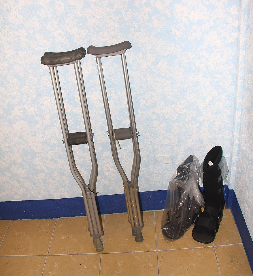gifts from multiple other sources...In this case the crutches came from Ohio, the fracture boots came from Massachusetts or western NC.