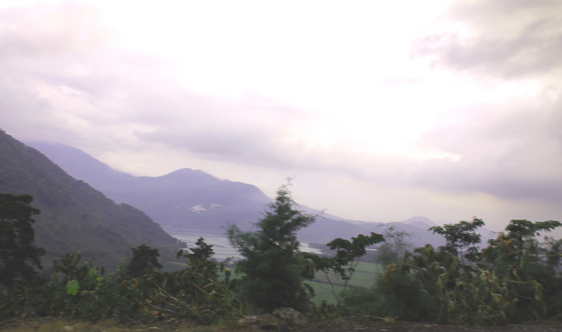 The view over Lake Amititlan, The volcanoes are cloud covered on this day.