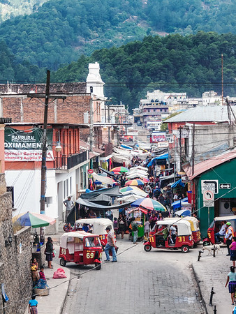 Overview of a street at the Chichicastenango market, Guatemala