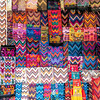 Colorful fabrics at the Chichicastenango market in Guatemala.
