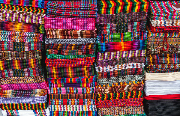 Fabrics at the Chichicastenango market, Guatemala