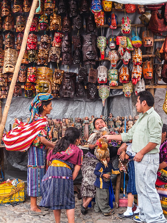 Masks vendor in the Chichicastenango market