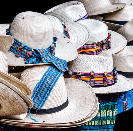 Hats for sale at the Chichicastenango market in Guatemala.