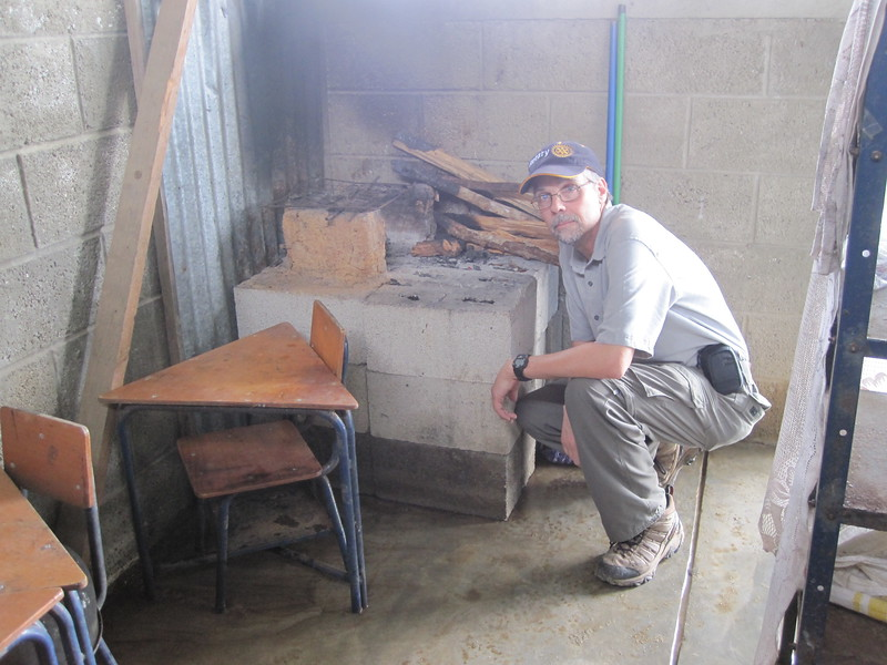 Rotary Club of Fort Collins member John Trone at La Catocha School - Cook stove to be replaced