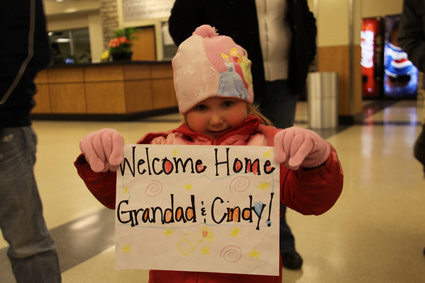 Olivia welcoming us home.  Can't get more precious than this.