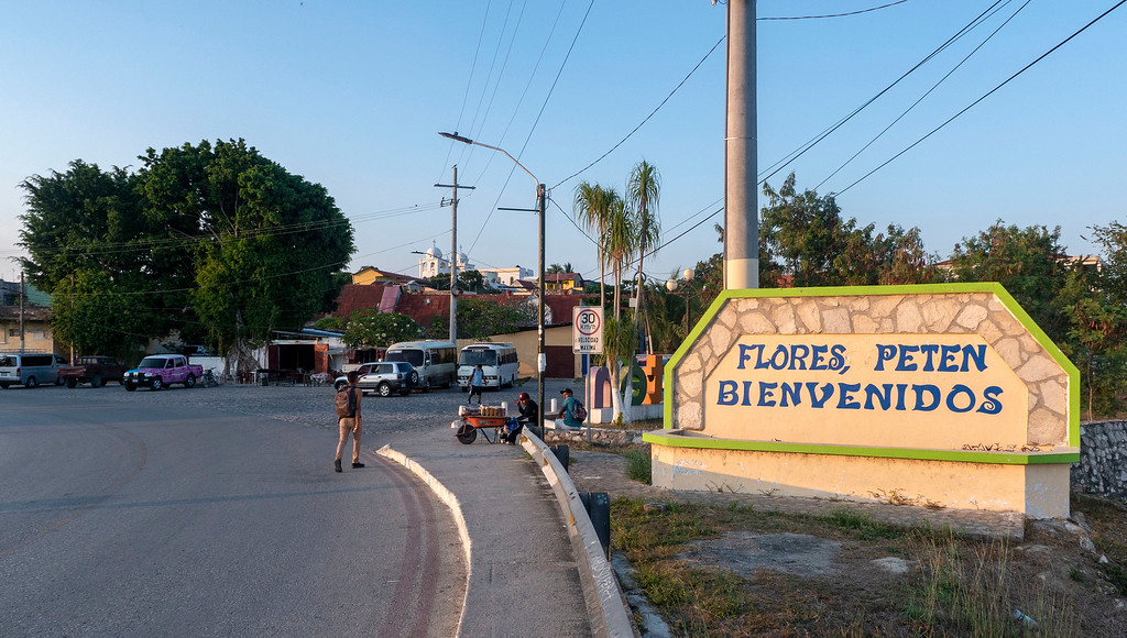 Flores Guatemala: Welcome to Flores Peten sign