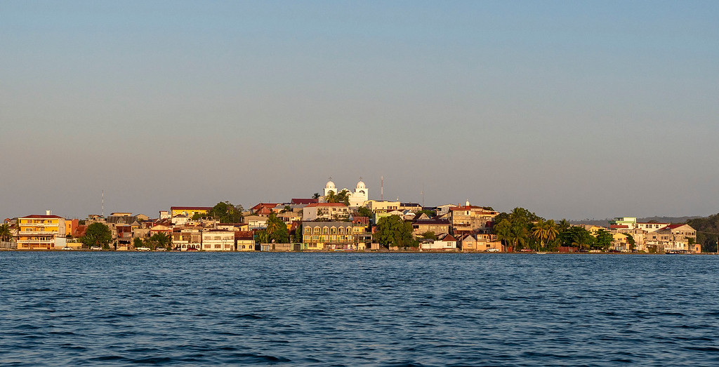 Flores, Peten, Guatemala from the water