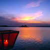 Candle at sunset in Flores, Guatemala