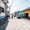 Street in the town of Flores Island (Isla de Flores) in Guatemala.