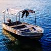Boat in Flores Island (Isla de Flores) in Guatemala.