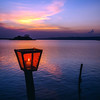 Candlelight at sunset in Flores, Guatemala
