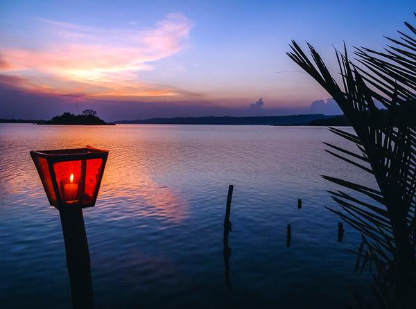 Lantern at sunset in Flores, Guatemala