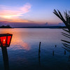 Lantern at sunset in Flores, Guatemala
