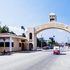 Arch gate at the entrance of the town of Flores Island (Isla de Flores) in Guatemala.