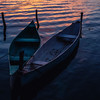 Boat at sunset in Flores, Guatemala