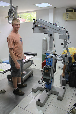 Paul Gordon working on a surgical microscope.  The week before Paul left Guatemala this was used on 49 patients who could not afford surgery even here in Guatemala.