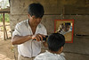Sibinal village barber with client