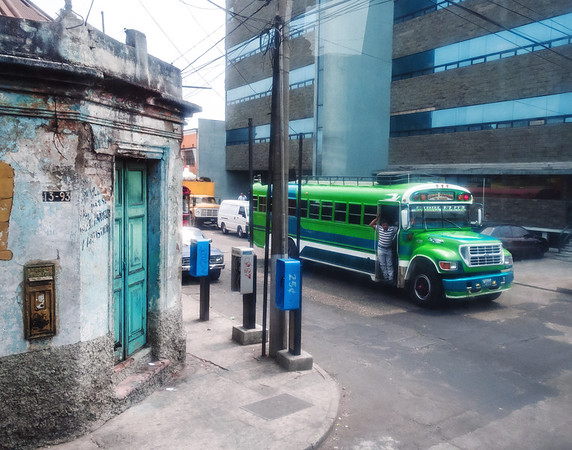 "Green ""chicken bus"" in the streets of Guatemala City"