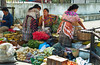 Ladies at a local street vegetable and produce market in Guatemala, city, Guatemala, Central America.