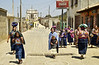 A street scene with village ladies going to the local market in Santa Maria de Jesus, Guatemala.