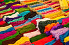 Closeup of colorful wool and yarn at the Comalapa market, Guatemala, Central America.