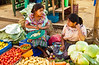 Two ladies at the produce market in Comalapa, Guatemala, Central America.