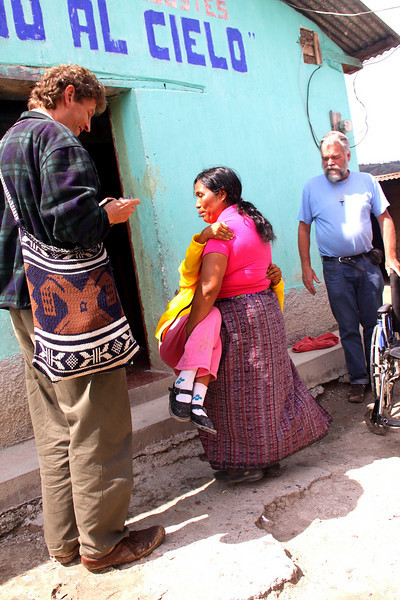 The wheelchair on the right was the initial contact with this family through Roland Elf on left and Dick Rutgers on right.  The wheelchair is provided by Bethel Ministries and was likely transported to Guatemala via a Vine International container.