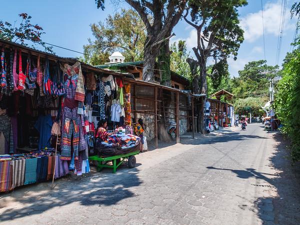 Street vendors in a street of Panajachel by lake Atitlan in Guatemala.