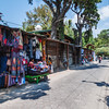 Street vendors in a street of Panajachel by lake Atitlan in Guatemala.