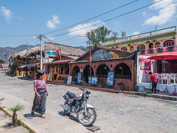 Woman walks in the streets of Panajachel by lake Atitlan, Guatemala