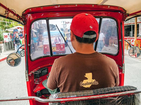 Tuk-tuk ride in the streets of Panajachel in Guatemala.