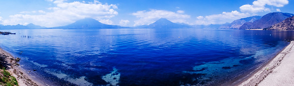Beautiful Lake Atitlan (Lago de Atitlan), a lake surrounded by volcanoes in Guatemala.