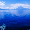 Beautiful Lake Atitlan (Lago de Atitlan), a lake surrounded by volcanoes in Guatemala.