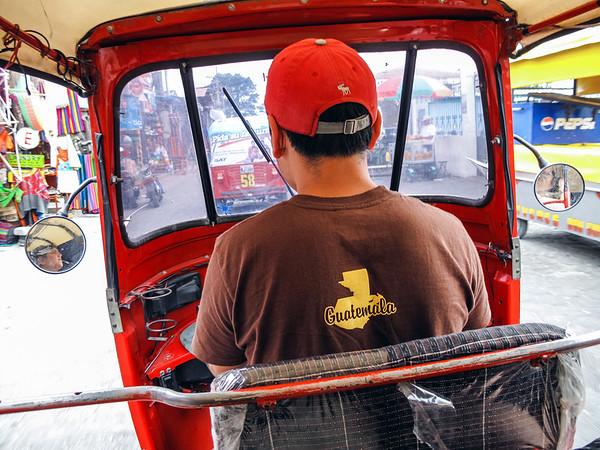 Tuk-tuk ride through the streets of Panajachel in Guatemala.
