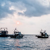 Fishing boats at sunrise in Livingston, Guatemala.