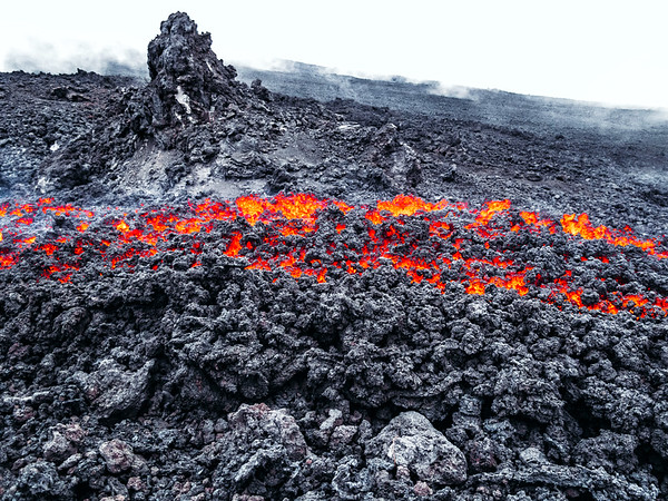 Hot lava flow on Pacaya Volcano in Guatemala.