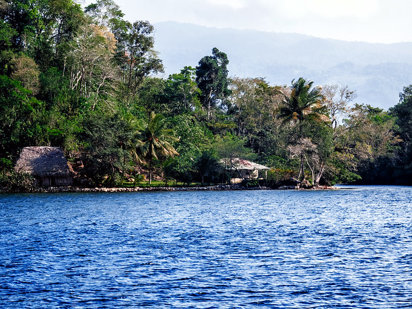 Houses along the Rio Dulce River seen during a boat trip on the way to Livingston, Guatemala.