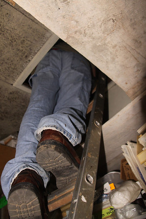 I am not going to get into the attic... when the thinnest man on the team is this tight in the hole...