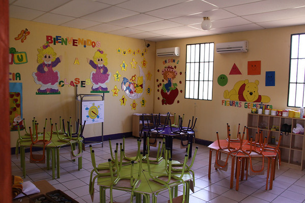 One of the classrooms, very much ready for kids.